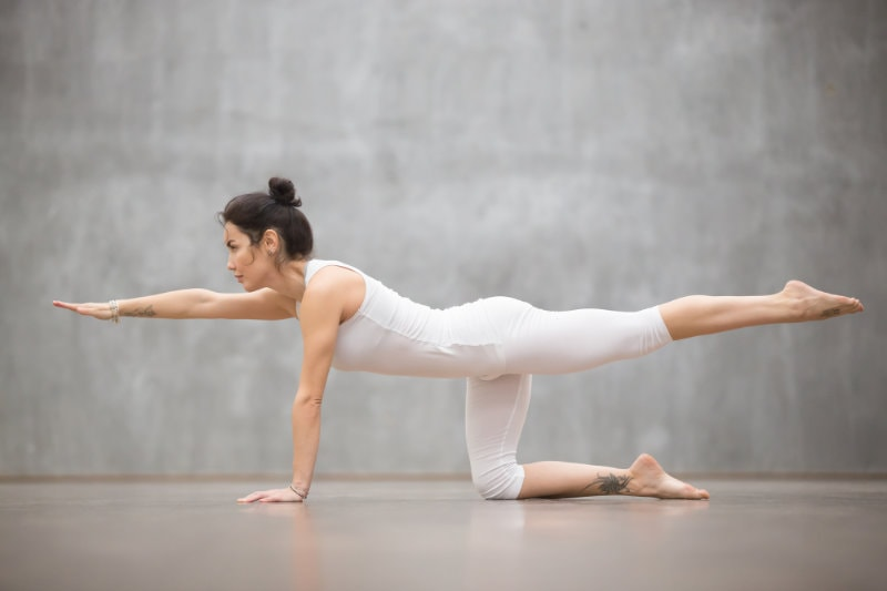 Beautiful Yogi woman doing Bird dog pose